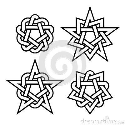 Free Celtic Star Knots Or Abstract Geometry Design Elements On White Background. Vector Royalty Free Stock Photo - 88180945