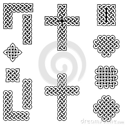 Free Celtic Style Endless Knot Symbols Including Border, Line, Heart, Cross, Curvy Squares In White, With Black Filling Between Knots Royalty Free Stock Photos - 86741028