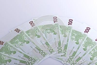 Cem euro- notas de banco