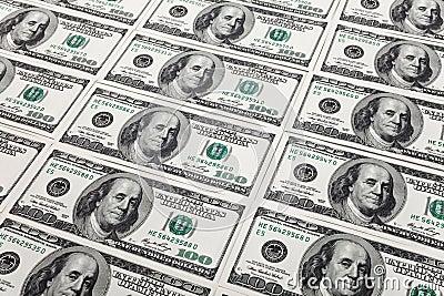 Cem notas de dólar novas
