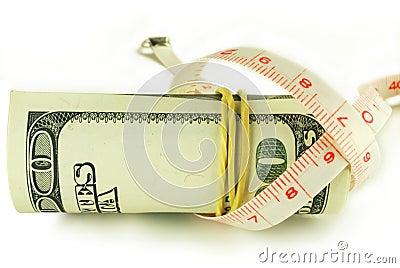 Cem rolos da nota de dólar - o dólar cresce finamente