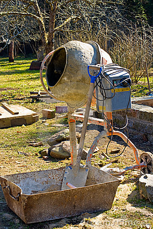 Cement mixer in garden
