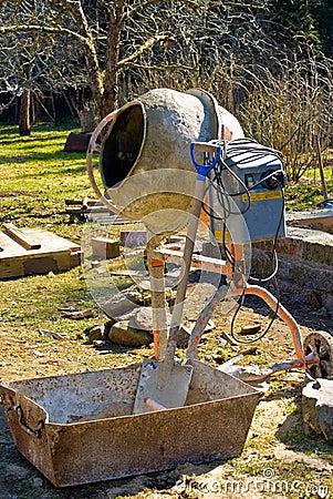 Cement mixer in garden