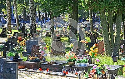 Cementerio en la ciudad Ruzomberok, Eslovaquia Imagen de archivo editorial