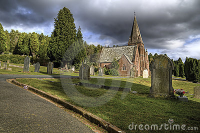 Cemetery and church.