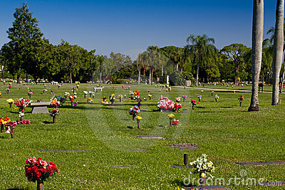 Cemetery with colorful flowers