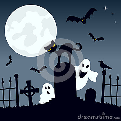 Cemetery with Ghosts, Cat and Bats