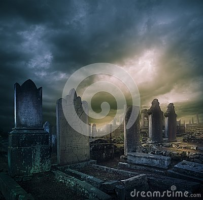 Free Cemetery, Graveyard With Tombstones At Night Royalty Free Stock Image - 26696586
