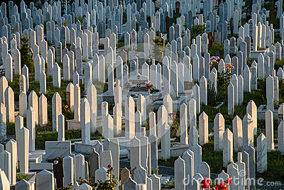 Cemetery in Sarajevo, Bosnia and Herzegovina Editorial Image