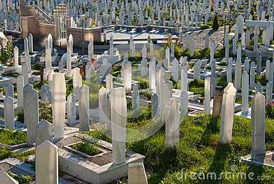Cemetery in Sarajevo, Bosnia and Herzegovina Editorial Stock Photo