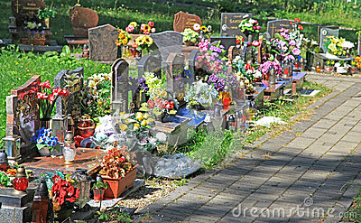 Cemetery in town Ruzomberok, Slovakia Editorial Stock Photo