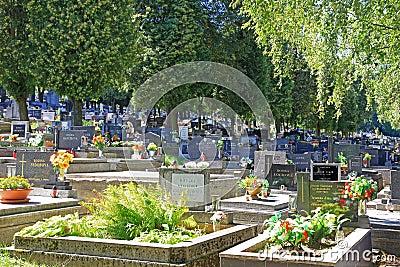 Cemetery in town Ruzomberok, Slovakia Editorial Photography