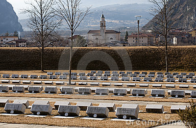 Cemetery of the victims of Vajont dam Editorial Photo