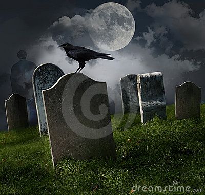 Free Cemetery With Old Gravestones And Moon Stock Photos - 16513333