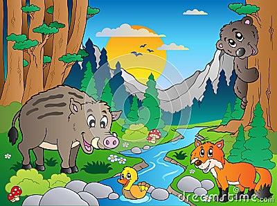 Cena da floresta com vários animais 3