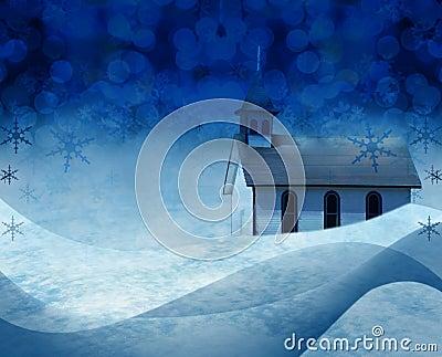 Cena da neve da igreja do Natal