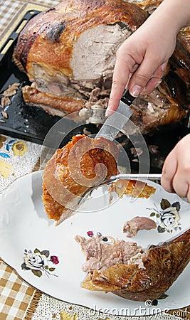 Cena del pavo de la Navidad