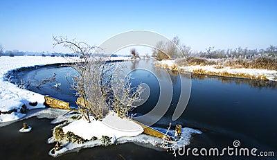 Cena do rio do inverno
