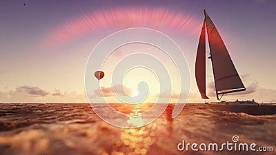 Cena do verão do nascer do sol, balão de ar e navigação do iate vídeos de arquivo