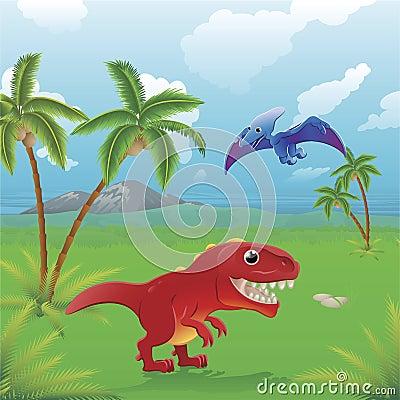 Cena dos dinossauros dos desenhos animados.