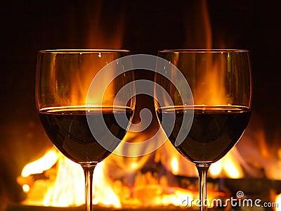 Cena romántica, dos vidrios