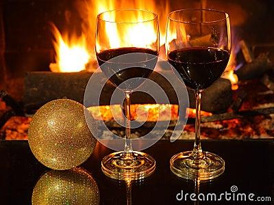 Cena romántica, la Navidad.