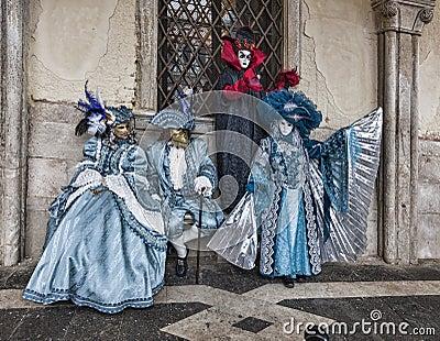 Cena Venetian dos trajes Foto Editorial