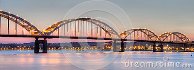 Centennial Bridge connecting Moline, Illinois to Davenport, Iowa Stock Photo