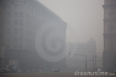 The center of Moscow is in smoke Editorial Image