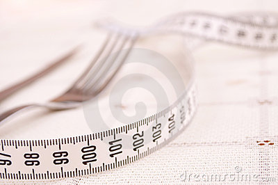 Centimeter, fork and knife