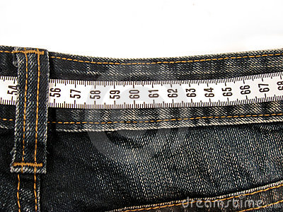 Centimeter on the jeans pants