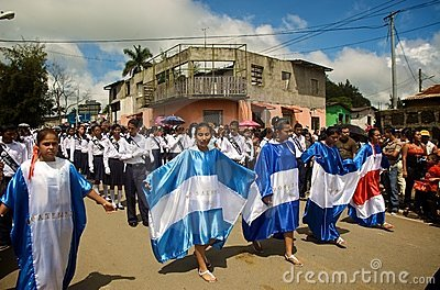 Central American Flags in Parade Editorial Image