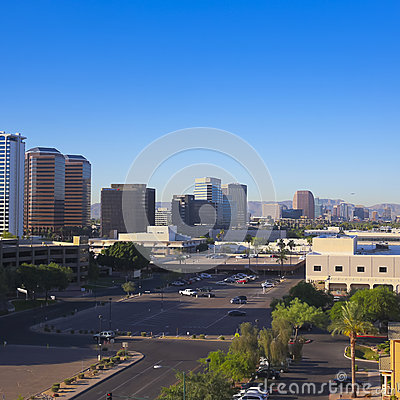 A Central Avenue, Phoenix, Arizona, Skyscrapers Shot Editorial Photo