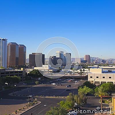 A Central Avenue, Phoenix, Arizona, Skyscrapers Shot Editorial Photo