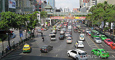 Central Bangkok Traffic Editorial Photography