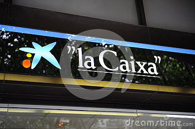 Central branch of La Caixa Bank in Palma Editorial Stock Image