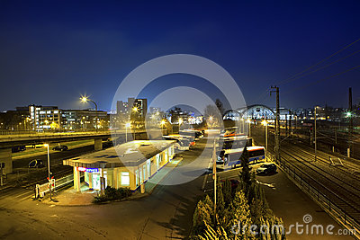 Central Bus Station at night in Dresden