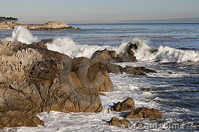 Central California Shoreline - Rocks & Waves