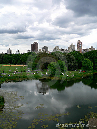 Central Park on a bright but cloudy day