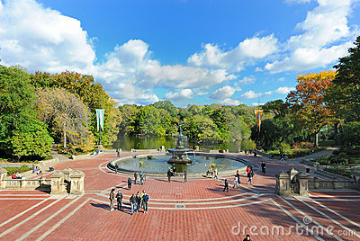 Central Park Fountain Editorial Stock Image