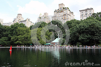 Central Park Sailboat Pond Editorial Stock Image