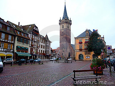 Central place of Obernai city - Alsace