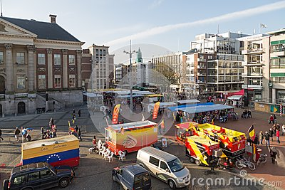 Central plaza with market of Dutch city Groningen Editorial Image