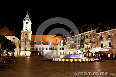 Central square at night in Bratislava Editorial Stock Photo