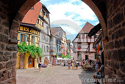 Central square in Riquewihr town, France Editorial Image