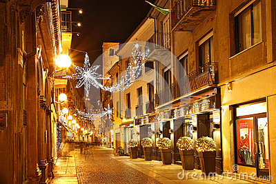 Central street at evening. Alba, Italy. Editorial Photo