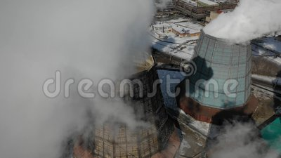 Centrale à charbon de cuisson à la vapeur géante aérienne Concept de problème d'Eclolgy clips vidéos