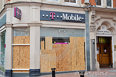 Centre of Birmingham-England Riots 2011-T mobile Editorial Photography