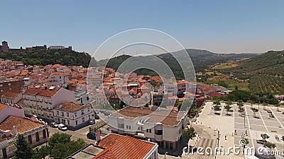 Centre historique de vue aérienne Portugal de Palmela banque de vidéos