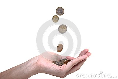 Cents falling in a hand